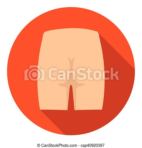 Buttocks icon in flat style isolated on white background. Part of body symbol stock vector illustration. - csp40920397