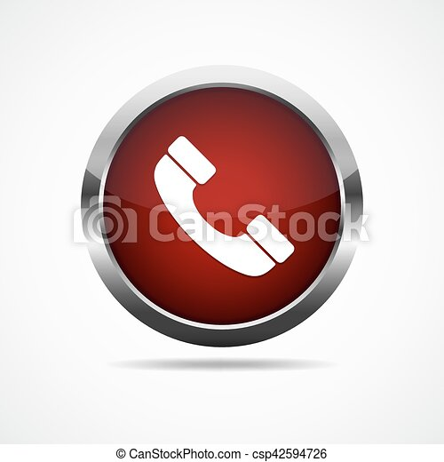 button., イラスト, 電話, ベクトル, グロッシー, 赤 - csp42594726