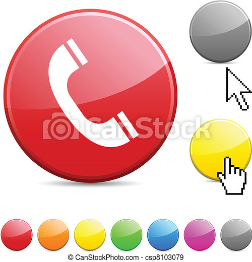 button., 電話, グロッシー - csp8103079