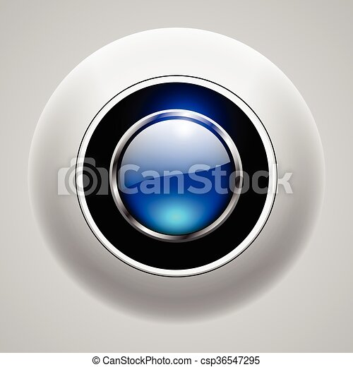 Button 3d blue - csp36547295