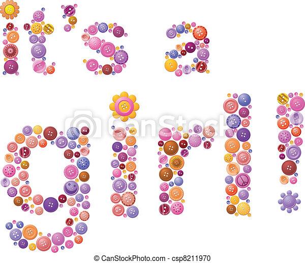Button birth announcement for girls - csp8211970