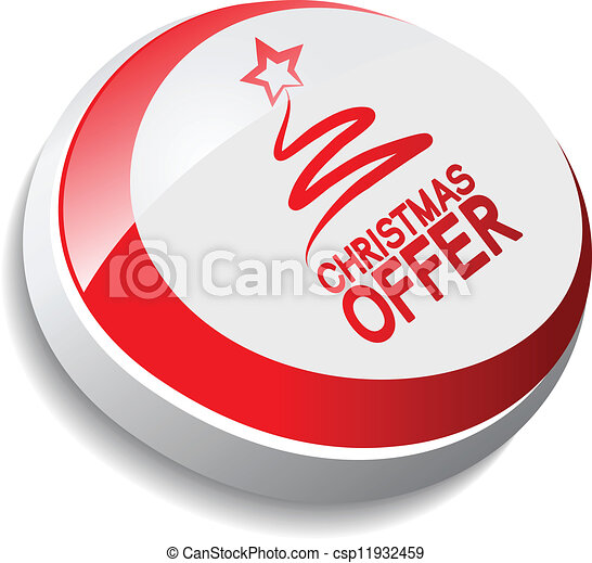button, Christmas offer with tree - csp11932459