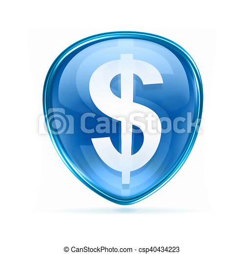 button dollar icon blue, isolated on white background - csp40434223