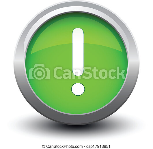 button exclamation 2d green - csp17913951