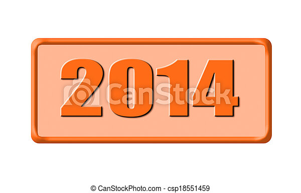Button of 2014 isolated on white background - csp18551459