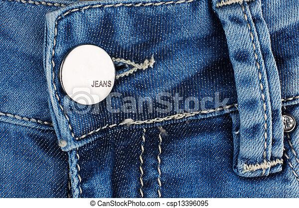 Button on blue jeans. - csp13396095