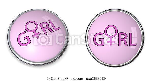 Button Pink Word /Female Gender Symbol - csp3653289