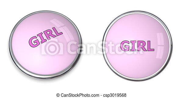 Button Pink Word - csp3019568