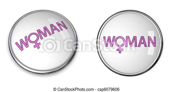 Button Pink Word Woman/Female Gender Symbol - csp6079606