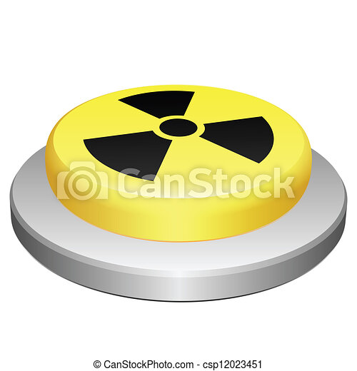 Button Radiation Illustration Of Button With Symbol Of Radioactivity