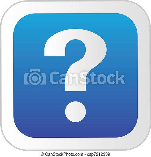 Botón de interrogación verde. - csp7212339