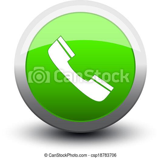 button telephone call 2d green - csp18783706