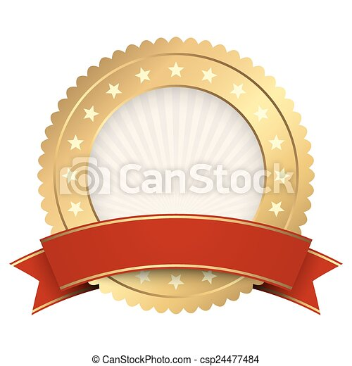 Button template gold with red banner - csp24477484
