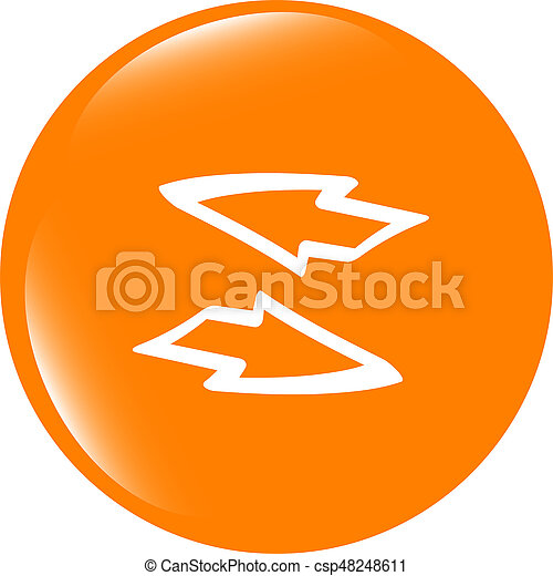 Button web icon with arrow set . Trendy flat style sign isolated on white background - csp48248611
