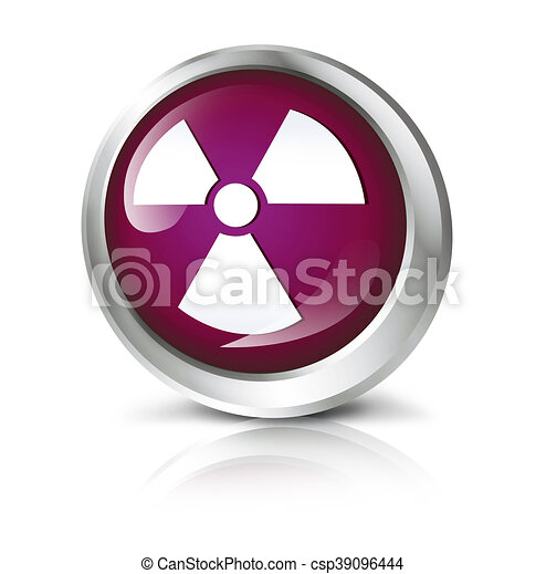 Glossy icon or button with atomic or toxic symbol altavistaventures Images