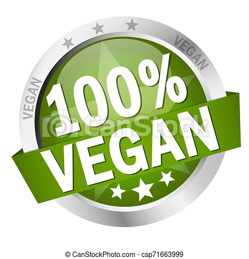 Button with Banner 100% vegan - csp71663999
