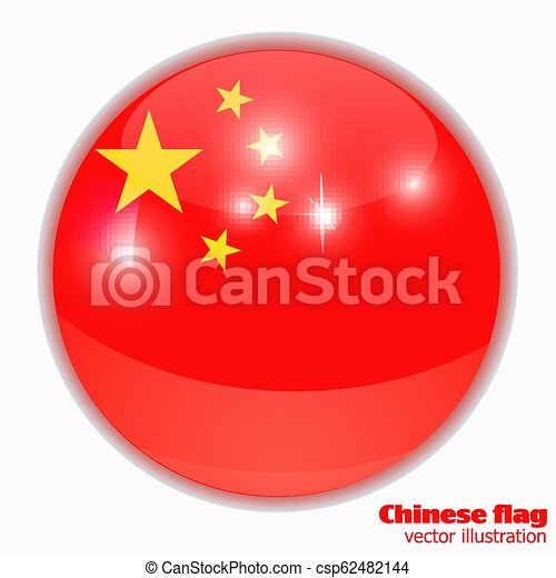 Button With Flag Of China Bright Button With Flag Of China Round Banner Illustration With Flag Happy China Day Background