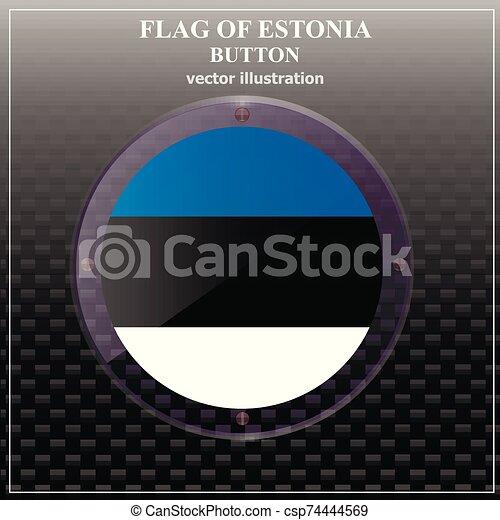 Button with flag of Estonia. Vector. - csp74444569