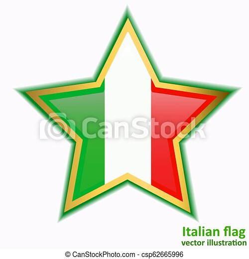 Button with flag of Italia. Vector. - csp62665996