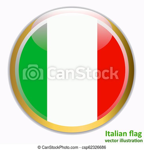 Button with flag of Italia. Vector. - csp62326686