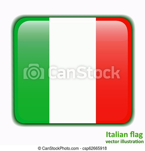 Button with flag of Italia. Vector. - csp62665918