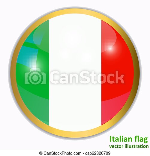 Button with flag of Italia. Vector. - csp62326709