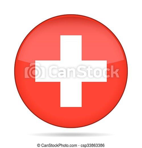 button with flag of Switzerland - csp33863386