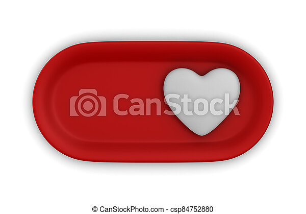 button with heart on white background. Isolated 3D illustration - csp84752880