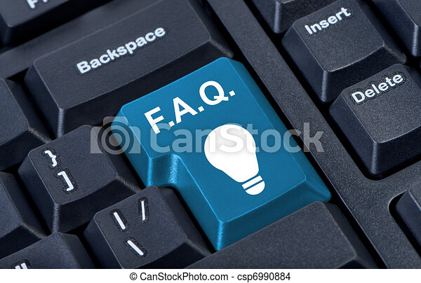 Button with icon lamp, F.A.Q. internet concept. - csp6990884