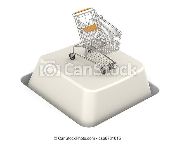 Button with Shopping Cart - csp6781015