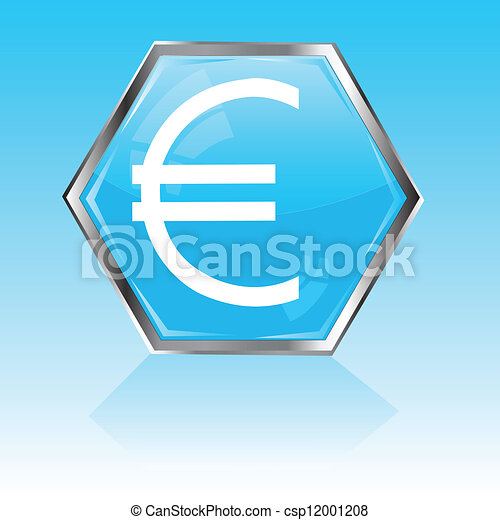 Button with sign euro - csp12001208