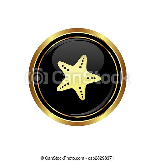 Button with starfish icon - csp28298371