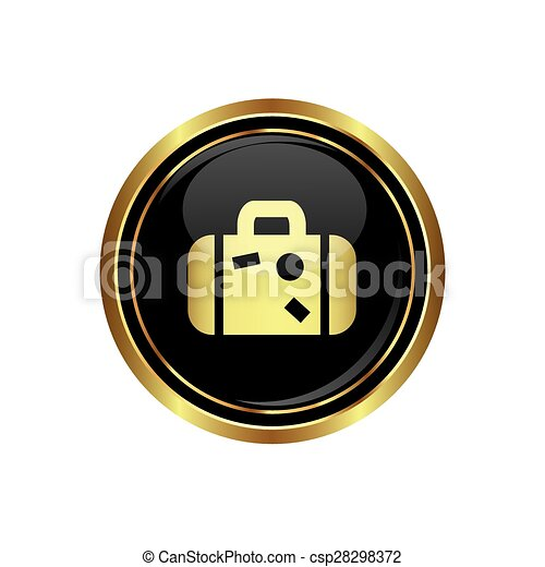Button with suitcase icon - csp28298372