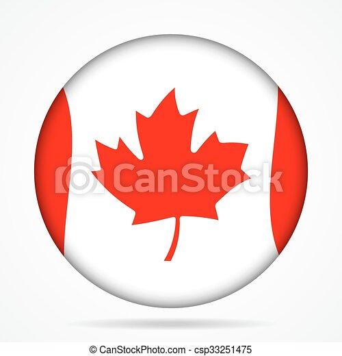 button with waving flag of Canada - csp33251475