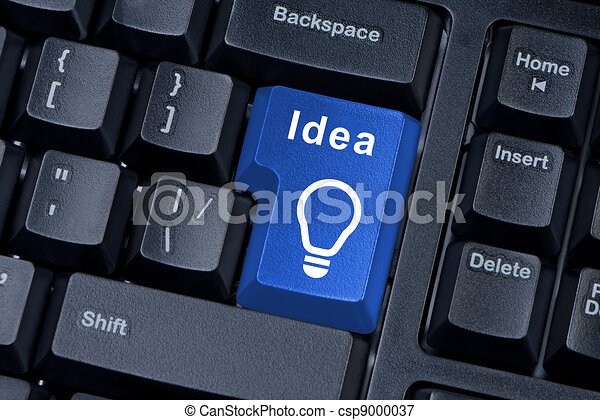 Button with word IDEA and icon light bulb. - csp9000037