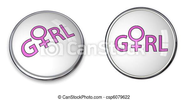 Button Word /Female Gender Symbol - csp6079622