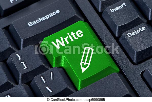 Button write with icon pencil, internet concept. - csp6990895