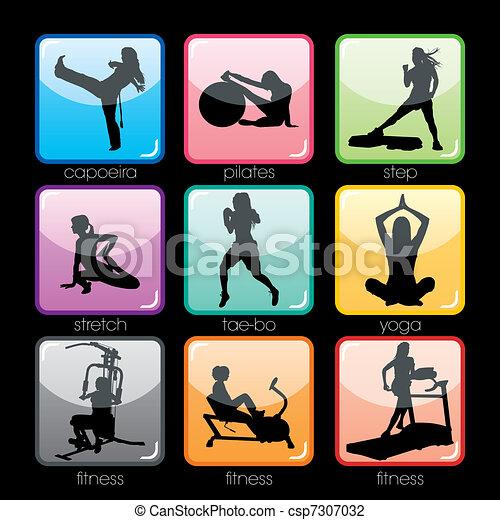 buttons, задавать, фитнес - csp7307032