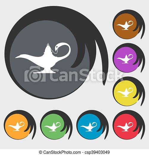 Buttons., alladin, gefärbt, zeichen, symbole, lampe, vektor, acht ...