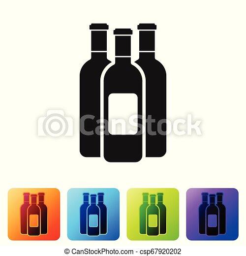 Botellas negras de icono de vino aislado en fondo blanco. Pon icono en botones cuadrados de color. Ilustración de vectores - csp67920202