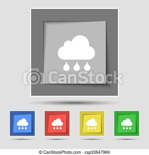 Buttons., coloreado, lluvia, señal, vector, cinco, original, nube ...