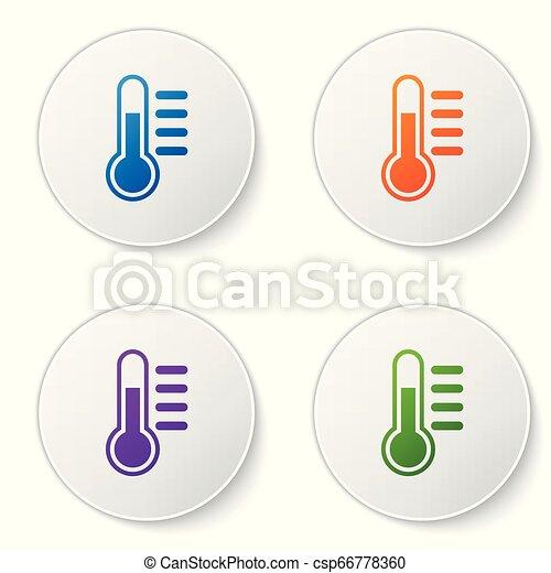 buttons., ensemble, couleur, isolé, illustration, arrière-plan., vecteur, thermomètre, cercle blanc, icône - csp66778360