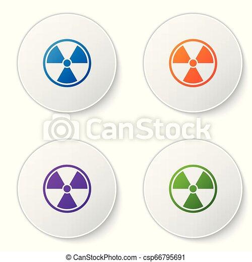 buttons., ensemble, couleur radioactive, signe., radiation, isolé, danger, symbole., arrière-plan., vecteur, illustration, toxique, cercle blanc, icône - csp66795691