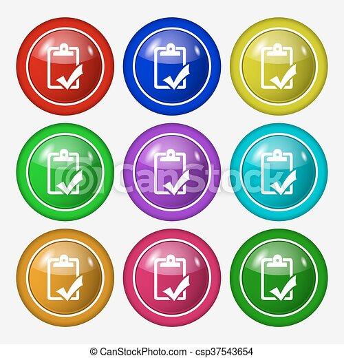 Buttons., gramática, completo, signo., trabajo, prueba,... vector de ...
