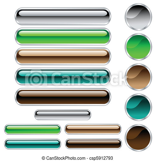 Buttons, scaleable shiny rounded rectangles and circles in assorted colors - csp5912793