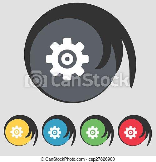 buttons., sinal., colorido, ajustes, cogwheel, mecanismo, vetorial, cinco, dente, ícone, símbolo, engrenagem - csp27826900