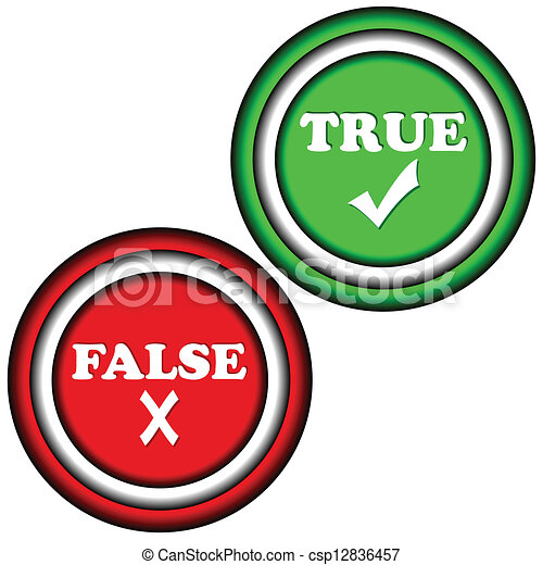 buttons true and false on a white background