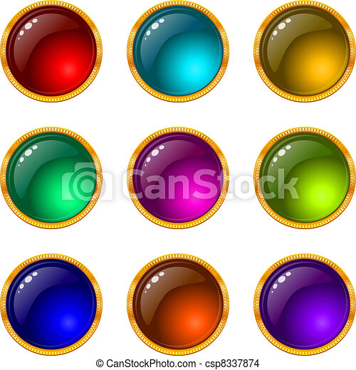 Buttons with gems, set, round - csp8337874