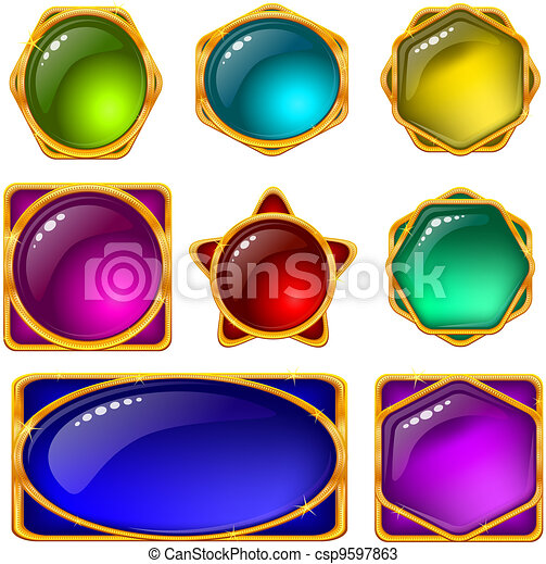 Buttons with multicolored gems, set - csp9597863