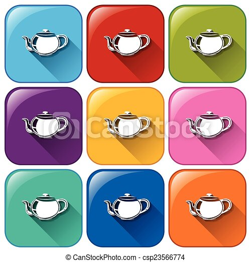 Buttons with teapots - csp23566774